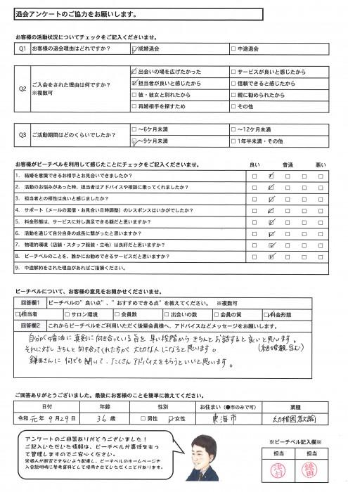 退会アンケート|201910093
